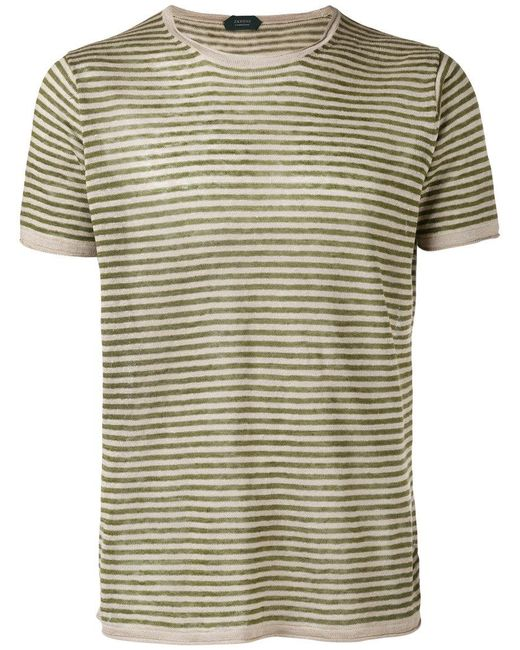 Zanone   Green Knitted Striped T-shirt for Men   Lyst