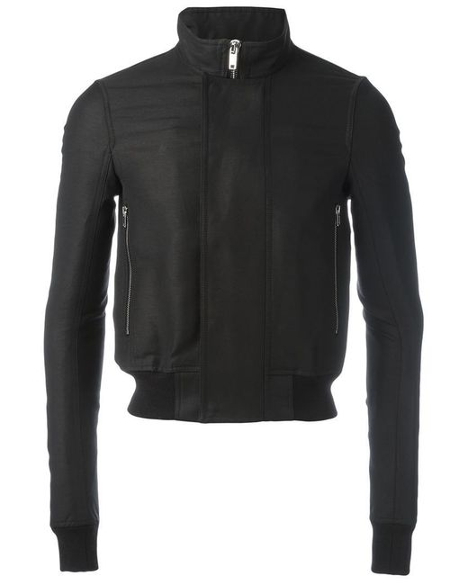 Rick Owens | Black Funnel Neck Bomber Jacket for Men | Lyst