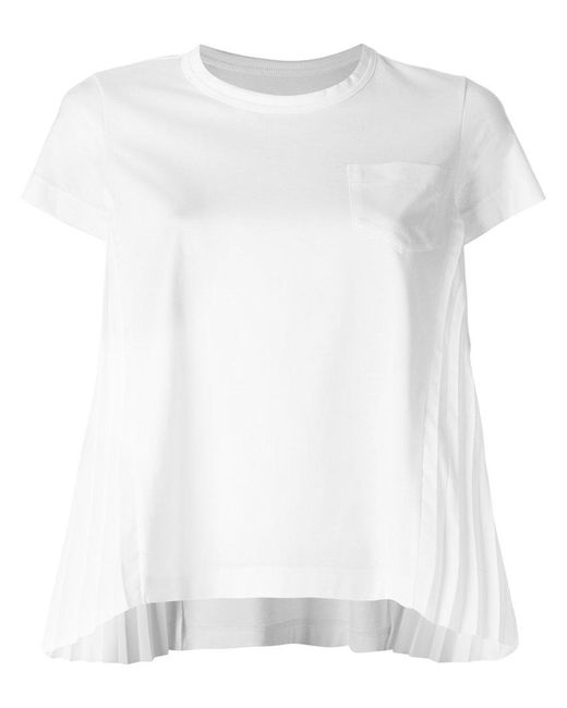 Sacai | White Chest Pocket Cropped Sleeve T-shirt | Lyst