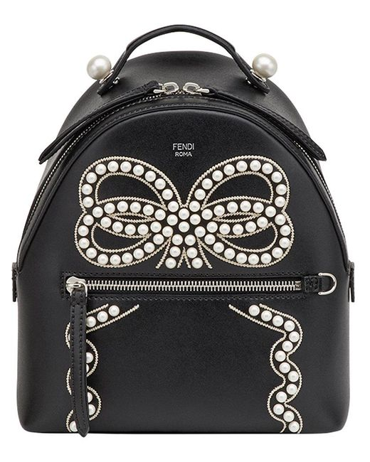 Fendi | Black Bow Detail Mini Backpack | Lyst