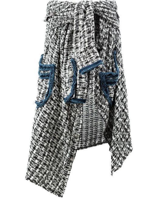 Faith Connexion - Black Asymmetric Tweed Skirt - Lyst