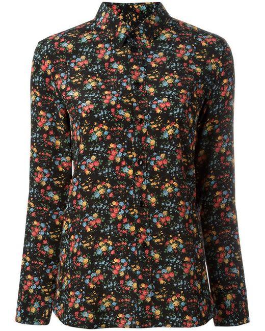 Saint Laurent   Black Paris Collar Floral Print Shirt   Lyst