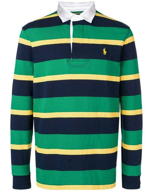 aa094d38 Polo Ralph Lauren - Green Striped Polo Shirt for Men - Lyst ...