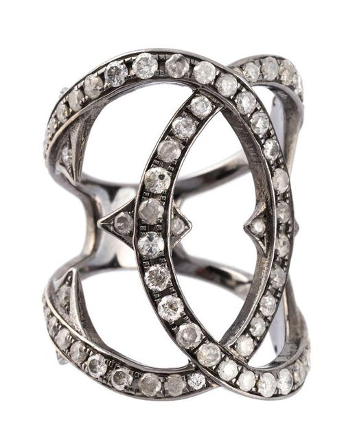 Loree Rodkin - Metallic Spiked Diamond Double Loop Ring - Lyst