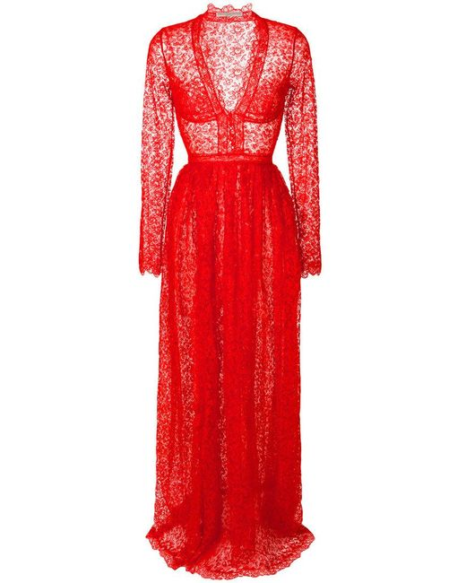 Ermanno Scervino | Red V-neck Lace Gown | Lyst