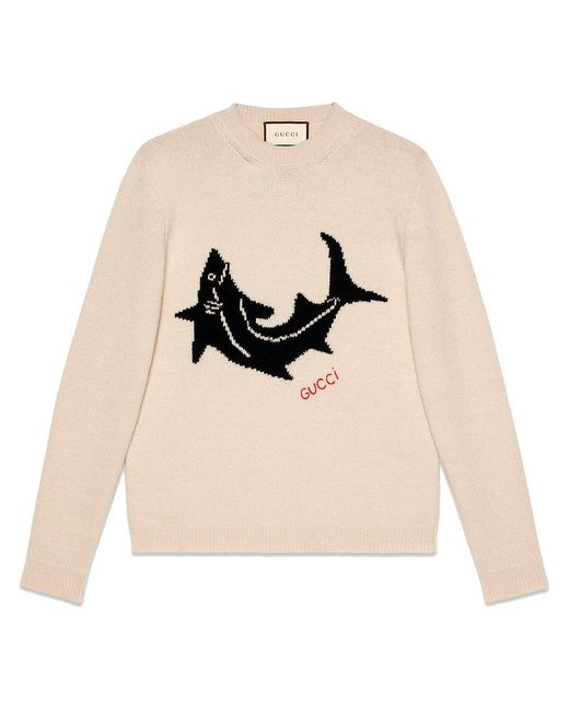 c6dd6e9608999 Lyst - Gucci Wool Sweater With Shark in White for Men
