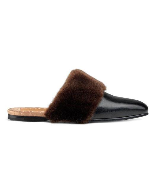 ed29de5e9 Gucci - Black Leather And Faux Fur Slipper for Men - Lyst ...