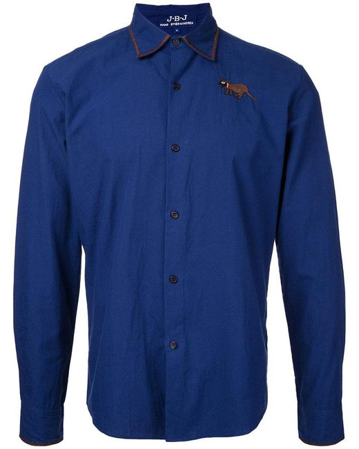 Jupe by Jackie - Blue Embroidered Figure Shirt for Men - Lyst