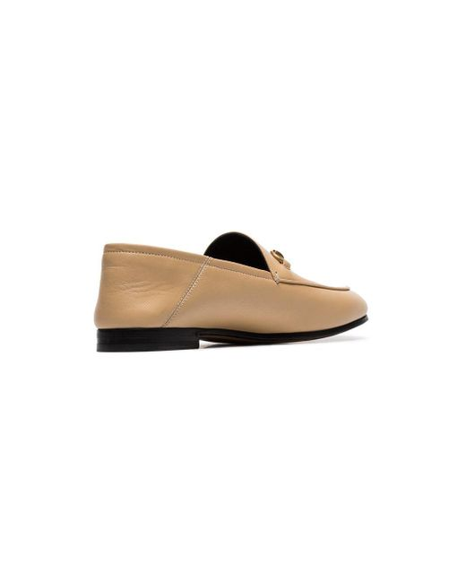 972535eff7e Lyst - Gucci 10mm Brixton Leather Loafers in Natural - Save 11%