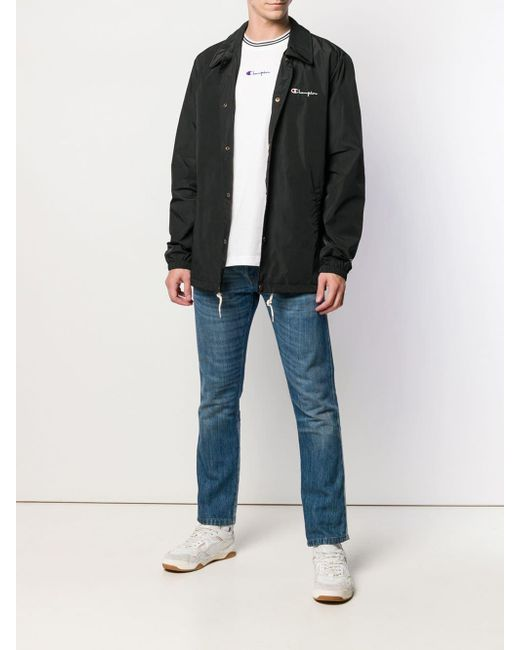21c839e077fba ... Champion - Black Overshirt Logo Jacket for Men - Lyst ...