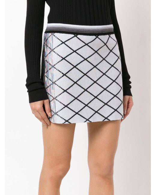 Missoni Diamond Patterned Mini Skirt In White Lyst Enchanting Patterned Mini Skirt