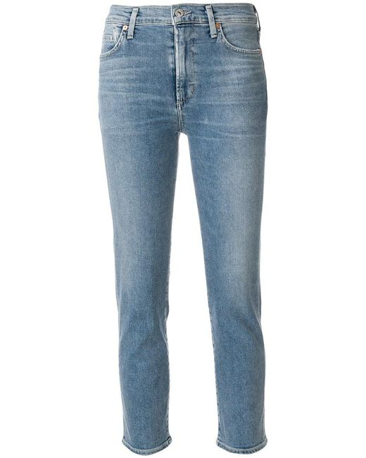 Citizens of Humanity - Blue Five Pocket Cropped Jeans - Lyst