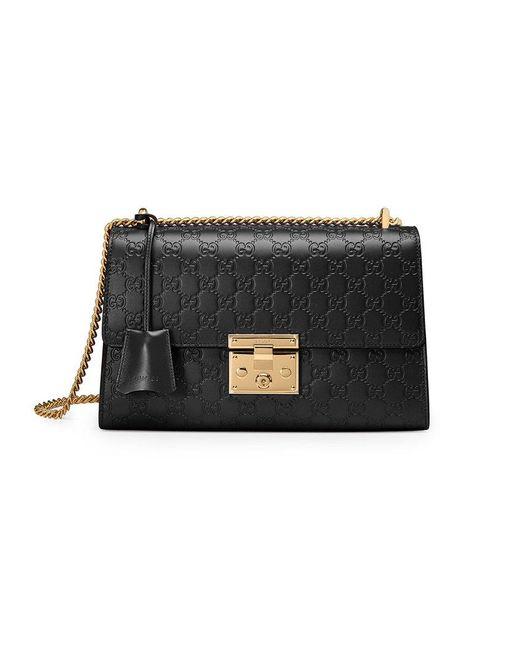 Gucci - Black Medium Padlock Signature Leather Shoulder Bag - - Lyst
