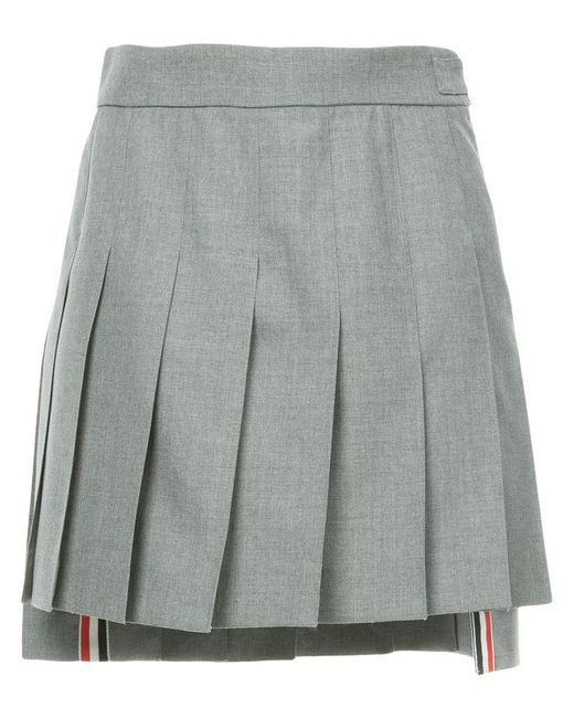 Thom Browne - Gray Dropped Back Mini Pleated Skirt In School Uniform Plain Weave - Lyst