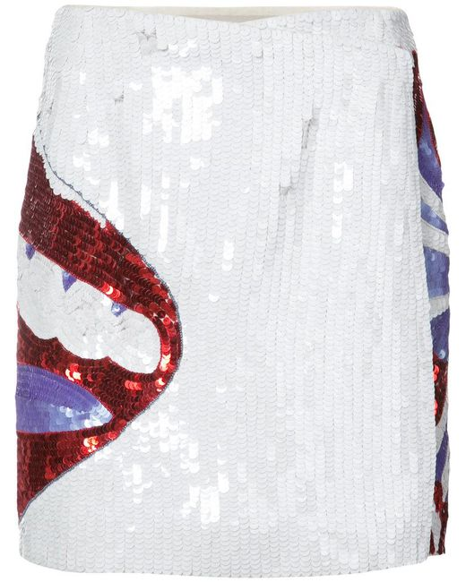 Olympia Le-Tan - White Sequinned Lip Skirt - Lyst