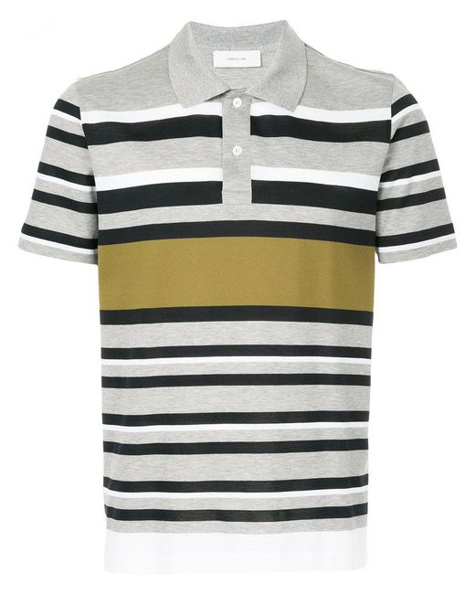 Cerruti 1881 - Gray Multi-stripe Polo Shirt for Men - Lyst