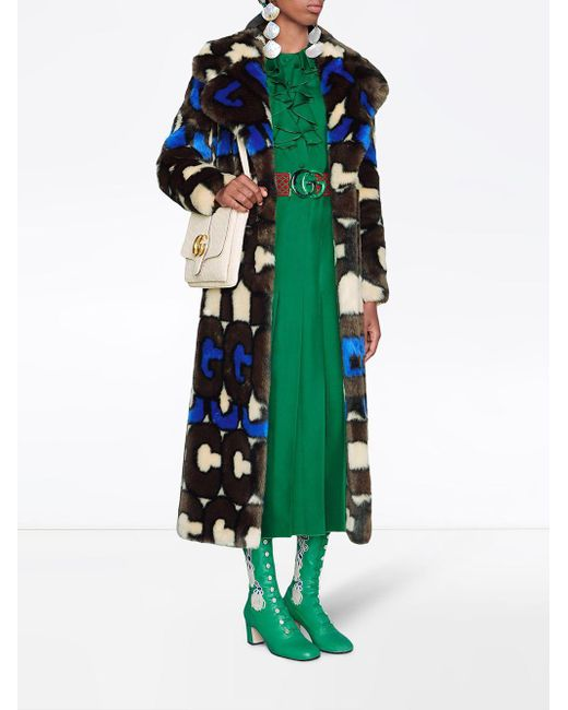 3e8d91430 Gucci Silk Dress With Double G Belt in Green - Lyst