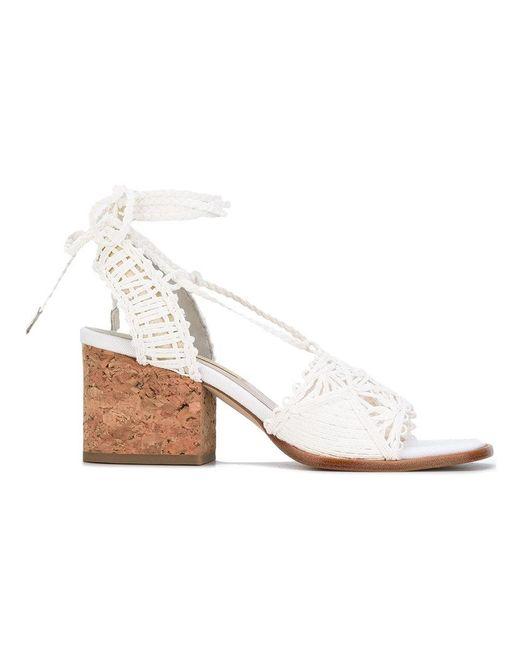 Paloma Barceló   White Woven Block Heel Sandals   Lyst