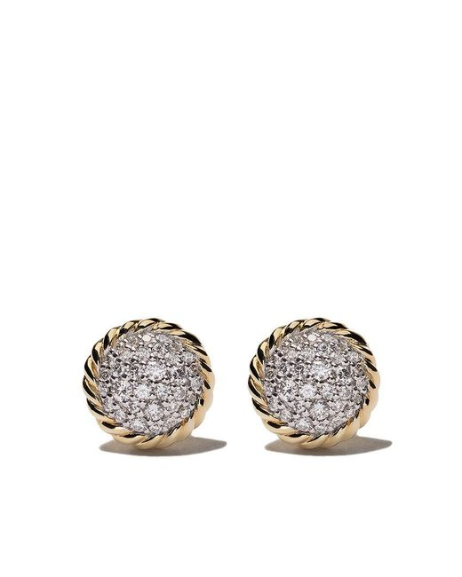 David Yurman - Metallic 18kt Yellow Gold Petite Pavé Diamond Stud Earrings - Lyst