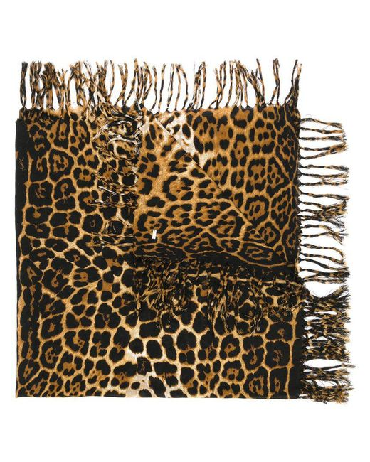 Saint Laurent - Brown Leopard Print Scarf - Lyst