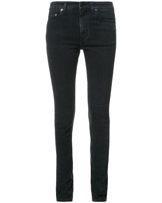 Saint Laurent - Black Faded Skinny Jeans - Lyst