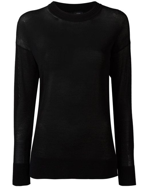 Joseph - Black Sheer Knitted Top - Lyst