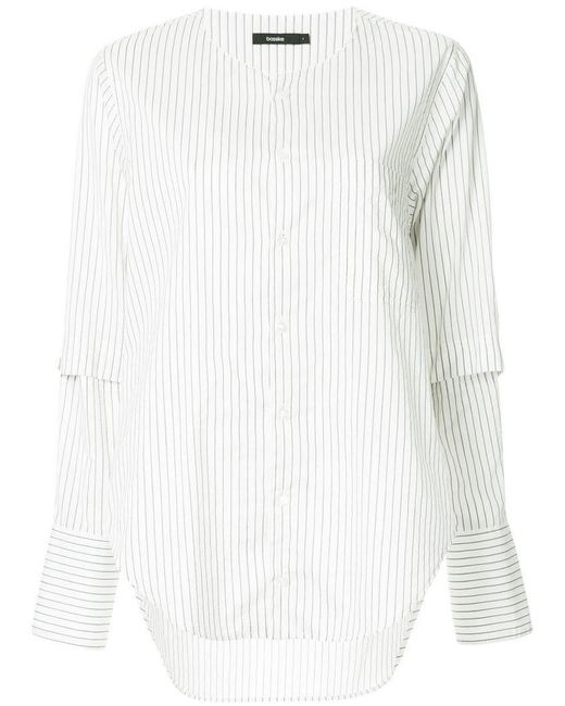 Bassike - White Striped Collarless Shirt - Lyst