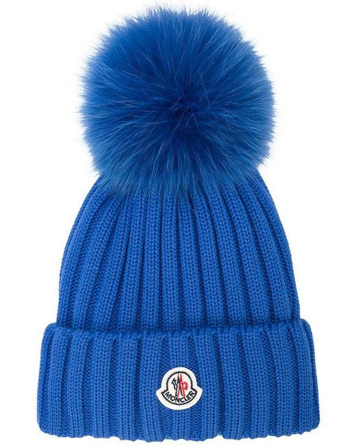 28b887788 Lyst - Moncler Pompom Embellished Logo Beanie in Blue