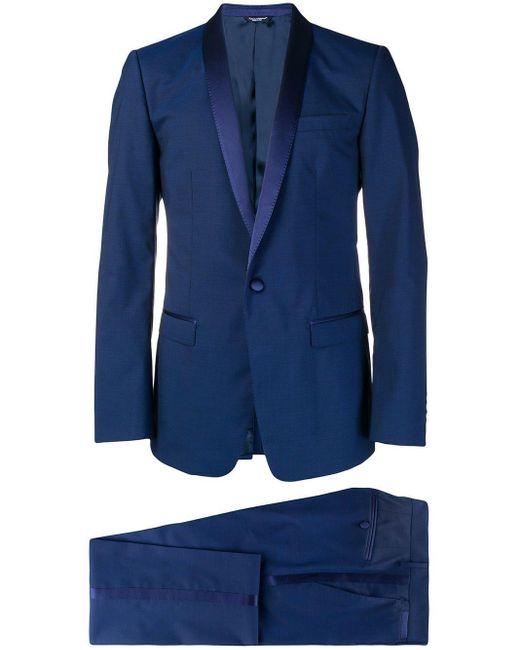 Dolce & Gabbana Blue Silk Trimmed Suit for men