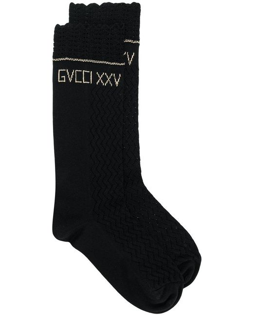 Gucci - Black Embroidered Logo Socks - Lyst