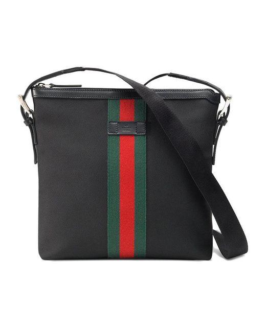 Gucci - Black Web Techno Canvas Small Messenger Bag for Men - Lyst