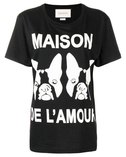 Gucci - Black Maison De L'amour Printed T-shirt - Lyst