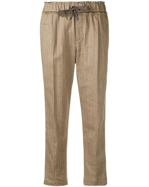 Brunello Cucinelli - Brown Cropped Tailored Trousers - Lyst