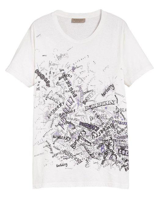 Burberry - White Doodle Print T-shirt for Men - Lyst