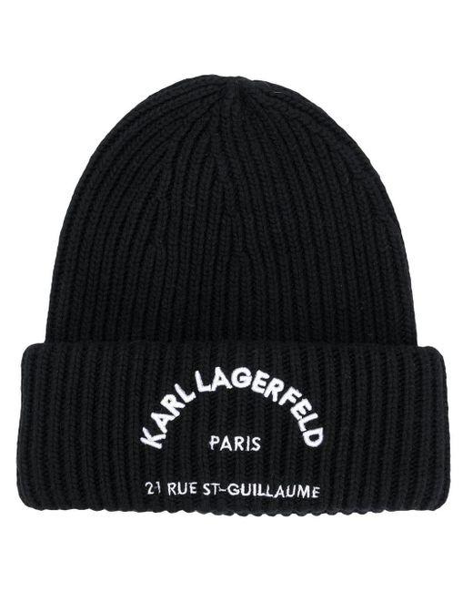 Karl Lagerfeld Black Rue St Guillaume Beanie