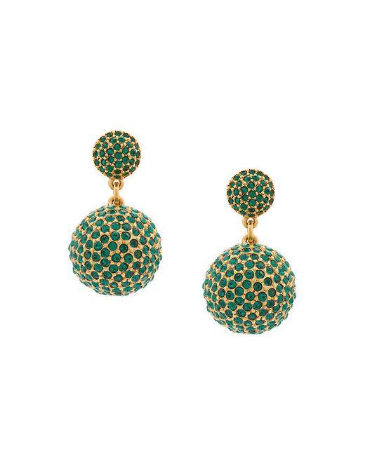 Oscar de la Renta | Green Pavé Dome Earrings | Lyst