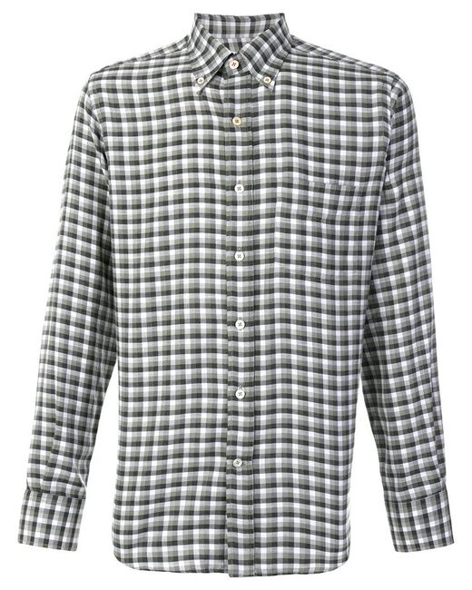 Canali - Green Modern Fit Checked Shirt for Men - Lyst