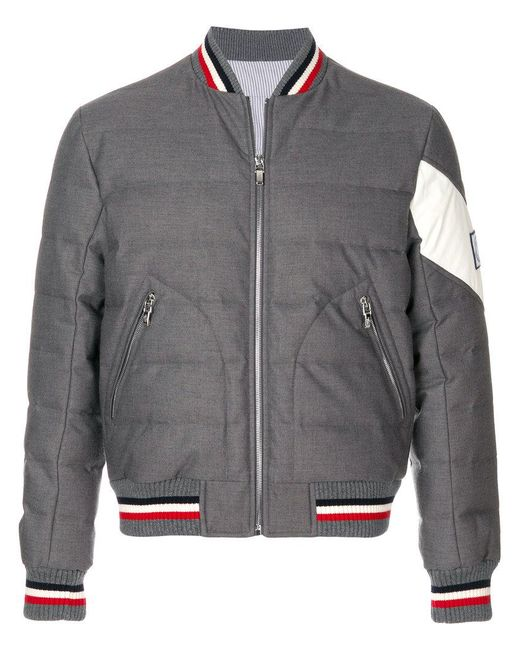 Moncler - Gray Padded Bomber Jacket for Men - Lyst