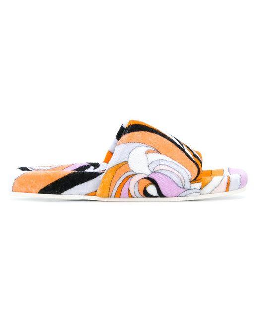 Emilio Pucci - Orange Printed Slides - Lyst