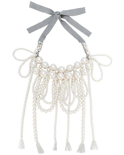 Moy Paris - White Layered Tassel Necklace - Lyst