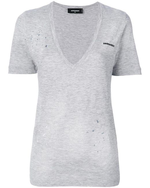DSquared² - Gray Low V-neck T-shirt - Lyst