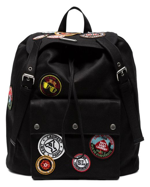 8ec1d38acae4 Saint Laurent - Black Noe Backpack With Multicoloured Patches for Men -  Lyst ...