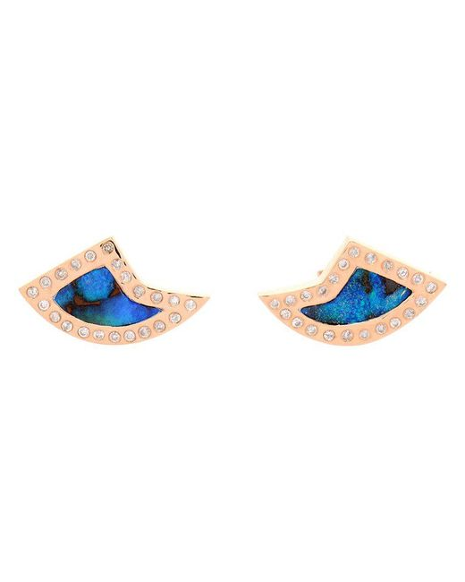 Dezso by Sara Beltran | Blue 18k Rose Gold Opal & Diamond Shark Fin Earrings | Lyst