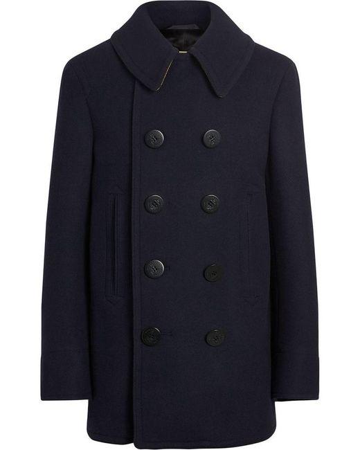 778db11f408ec Burberry - Blue Pea Coat for Men - Lyst ...