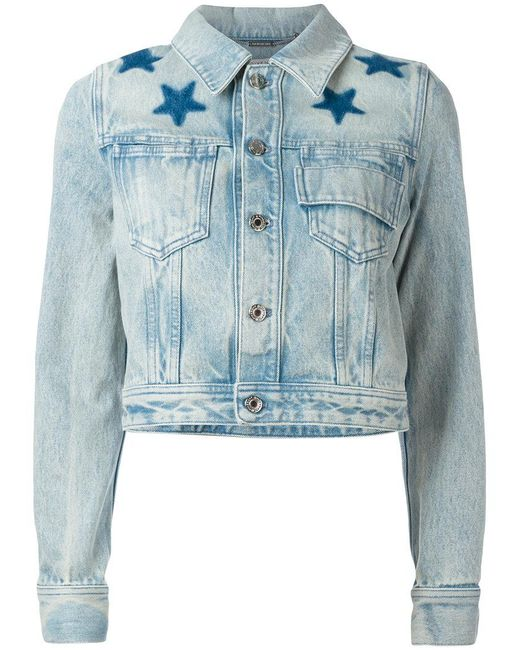 Givenchy | Blue Star Print Bleached Denim Jacket | Lyst