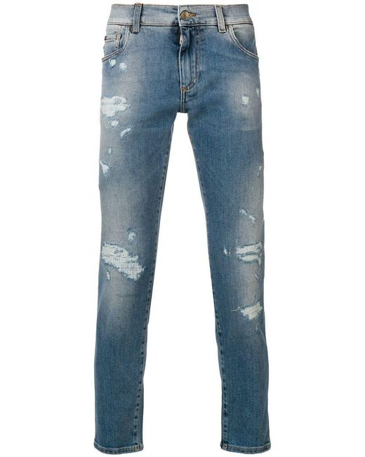 Dolce & Gabbana - Blue Slim Distressed Jeans for Men - Lyst