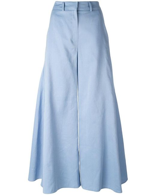 Peter Pilotto - Blue Flared Godet Trousers - Lyst
