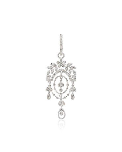 Yvonne Léon Metallic Creole Feuilletis Diamond Earrings