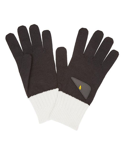 Fendi - Black Bicolor Appliqué Gloves for Men - Lyst