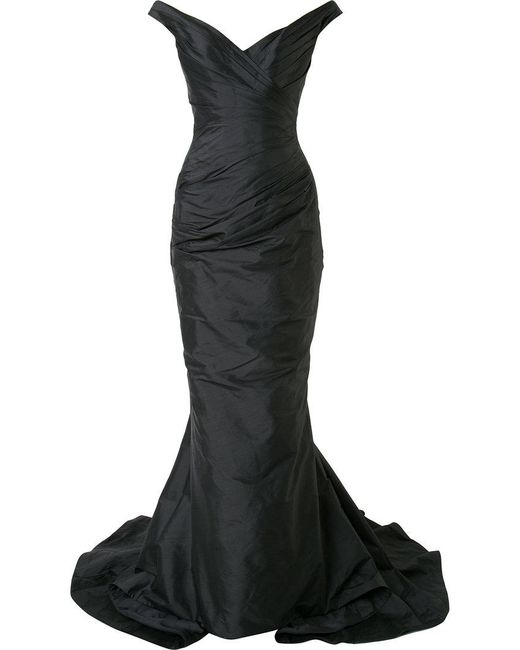 Romona Keveza - Black Off Shoulder Ruched Fishtail Gown - Lyst